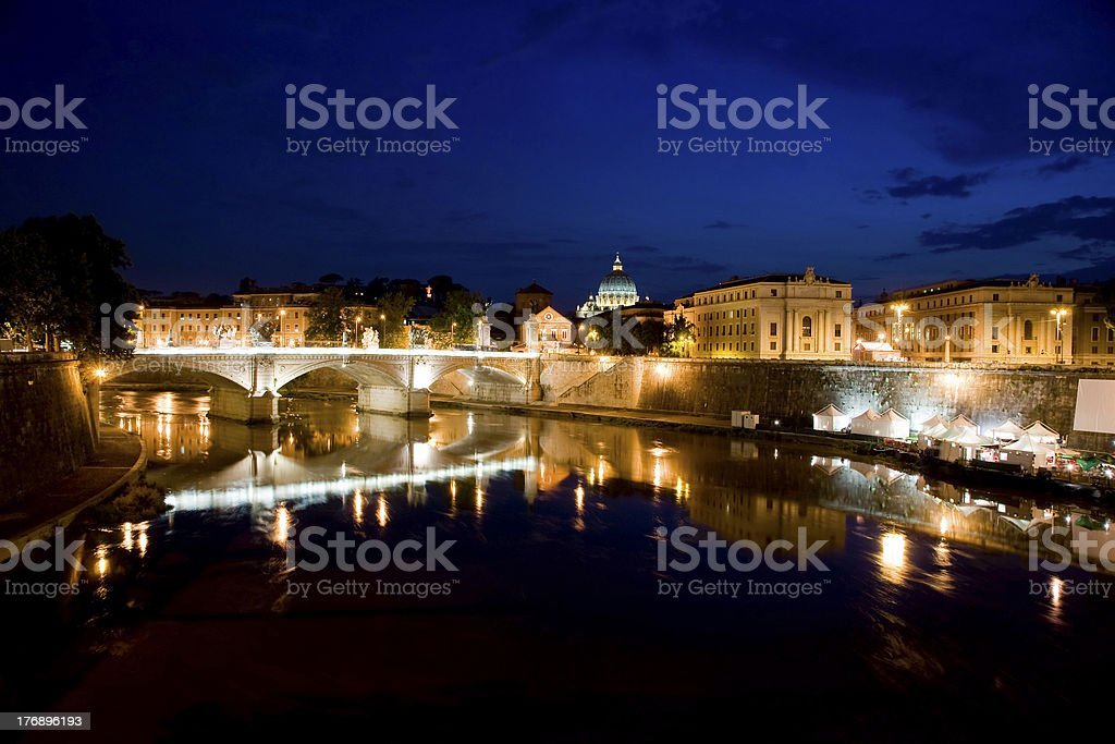 View of Rome by night royalty-free stock photo