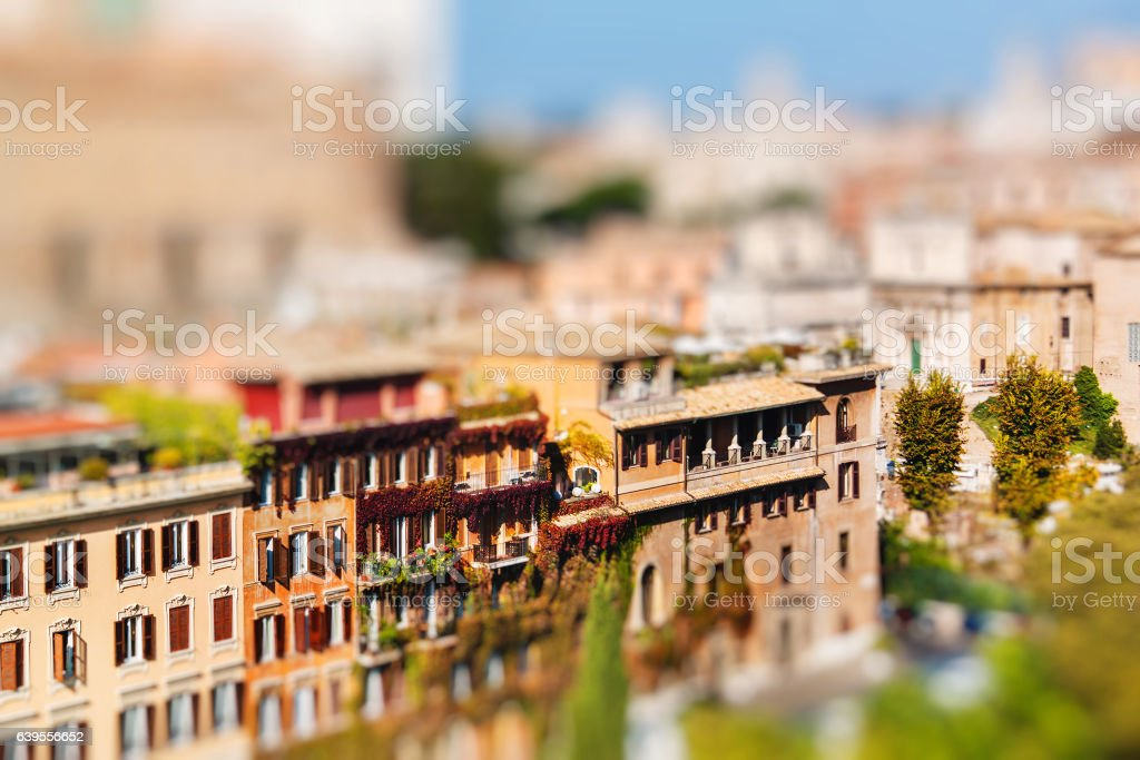 View of Rome city centre from the Palatine Hill, Italy stock photo