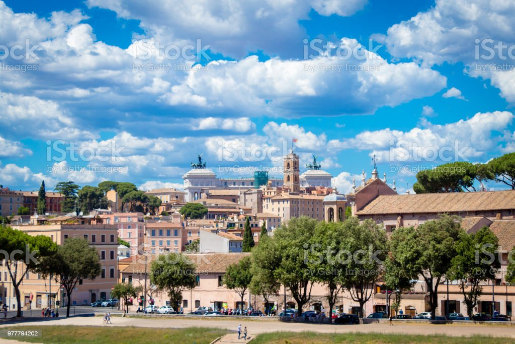 View of Rome from Circus Maximus , Italy. stock photo