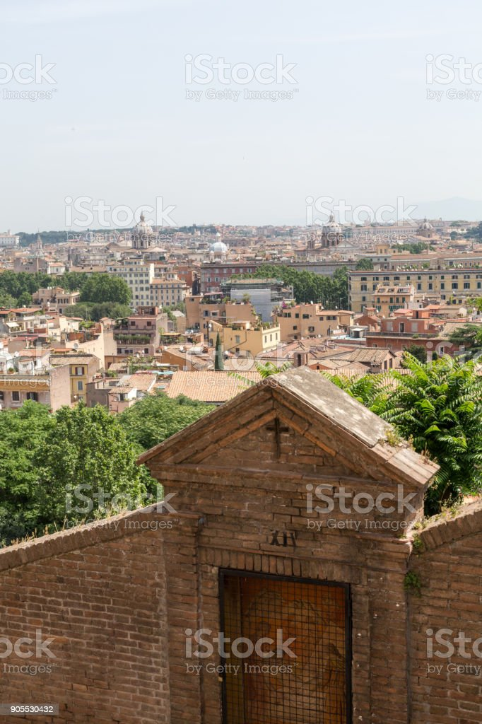 view of Rome from Janiculum Hill, Italy stock photo