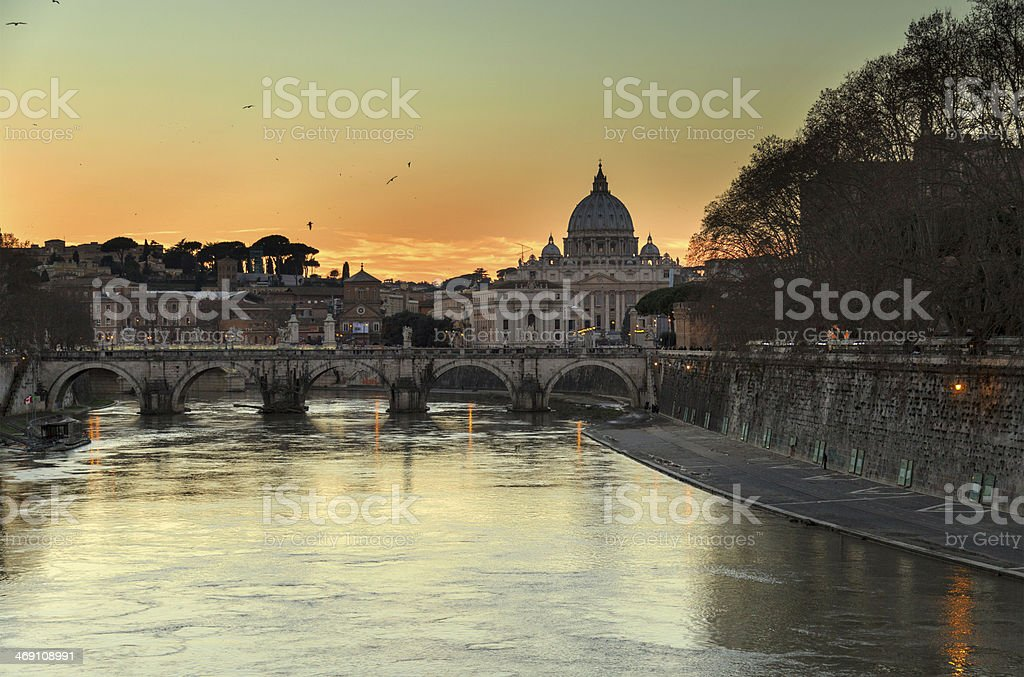 View of Rome from Umberto I bridge stock photo