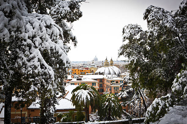 View of Rome from Villa Borghese gardens, Italy. stock photo