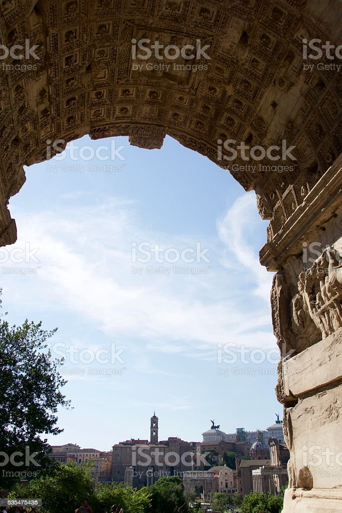 View of Rome through the Arch of Titus stock photo