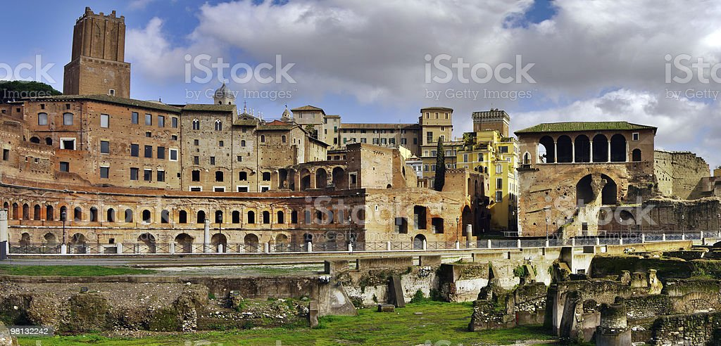 View of Rome with  ruins at foreground, Italy. royalty-free stock photo