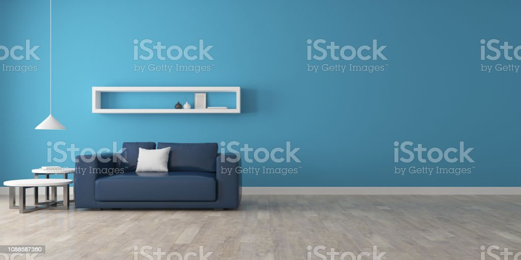 Peachy View Of Room Space With Deep Blue Sofa Set Blue Wall And Inzonedesignstudio Interior Chair Design Inzonedesignstudiocom