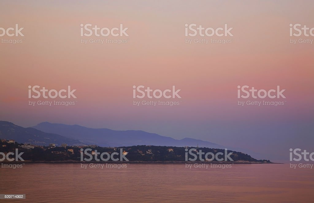 View of Roquebrune-Cap-Martin. France stock photo