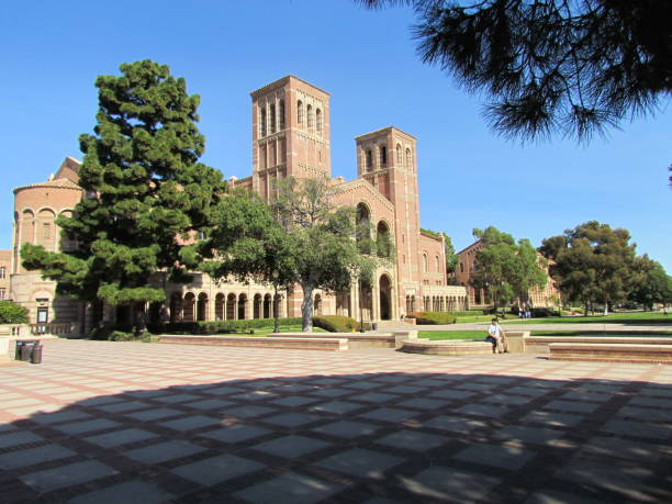 View of Royce Hall on University of California Los Angeles UCLA campus Los Angeles USA, 3 March 2011: View of Royce Hall red brick building on University of California Los Angeles UCLA campus royce hall stock pictures, royalty-free photos & images