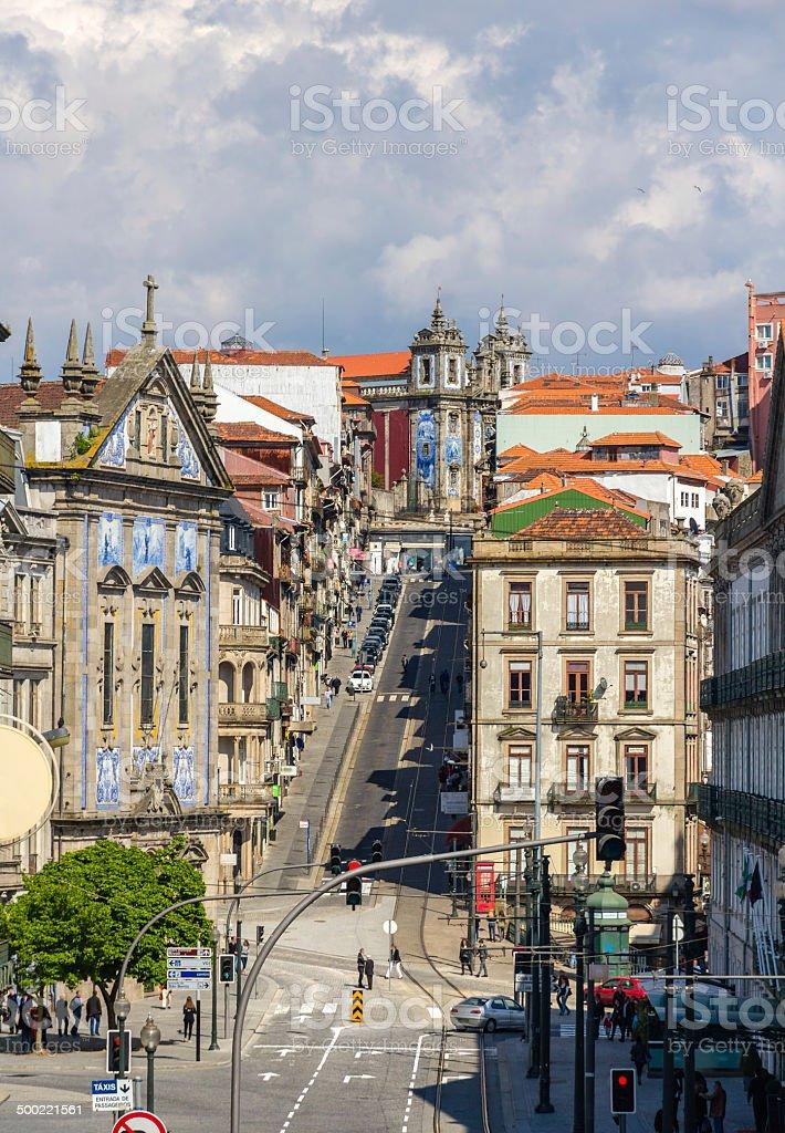 View of Rua 31 de Janeiro in Porto, Portugal stock photo