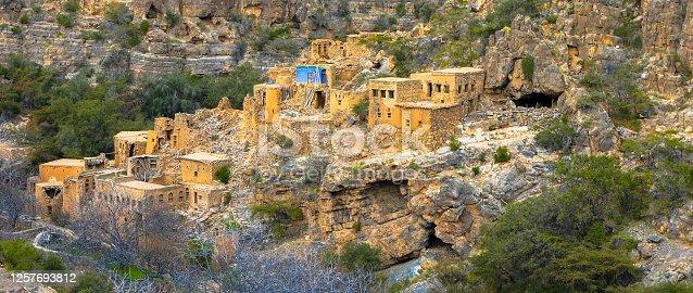 View of ruins of an abandoned village at the Wadi Bani Habib at the Jebel Akhdar mountain in Oman.