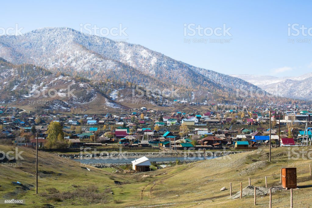 View of rural locality Onguday, Republic Altai Mountains, Russia. stock photo