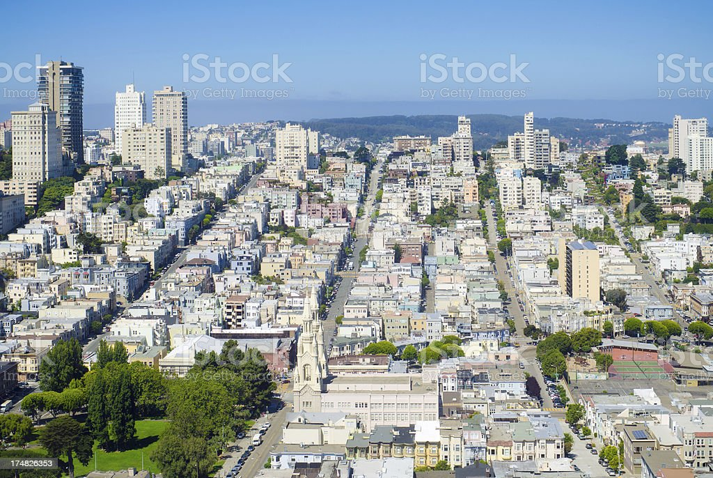 View of Russian Hill from Coit Tower in San Francisco royalty-free stock photo