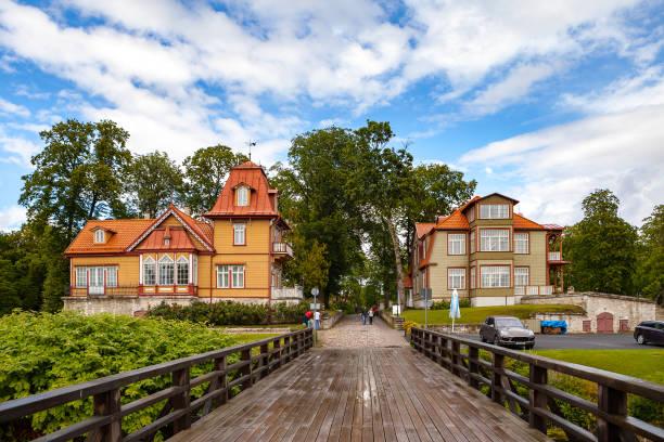 A view of Saaremaa island, Kuressaare castle in Estonia. Cosy old wooden houses stock photo