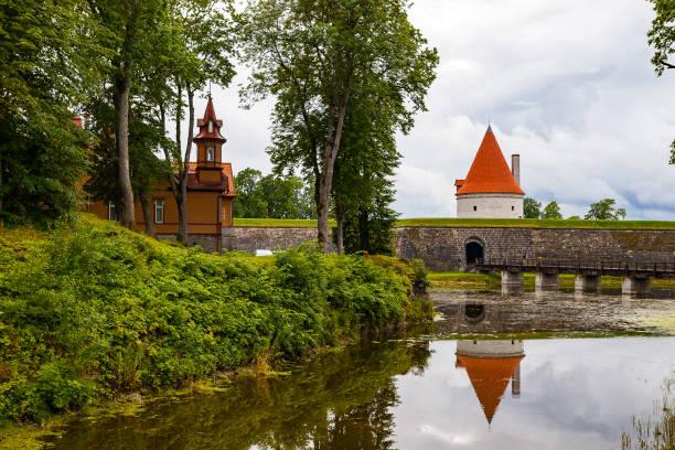 A view of Saaremaa island, Kuressaare castle in Estonia. The castle moat stock photo
