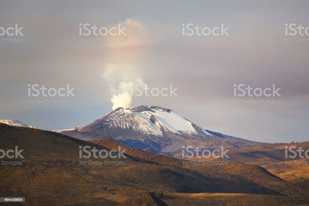 View of Sabancaya volcano in the Andes of southern Peru. stock photo