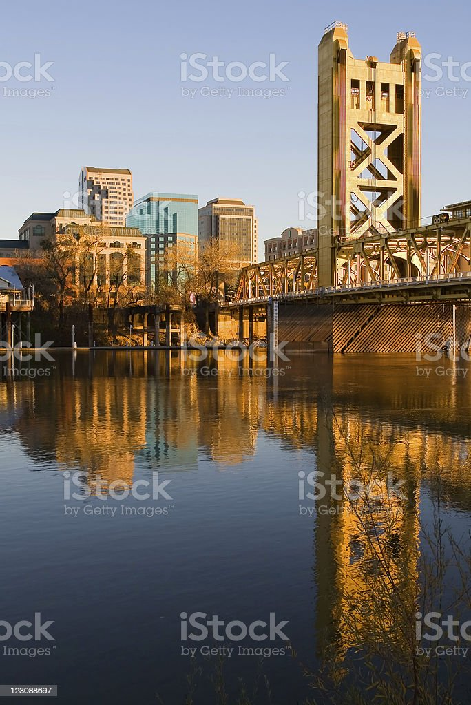 View of Sacramento at sunset as seen from across the waters stock photo