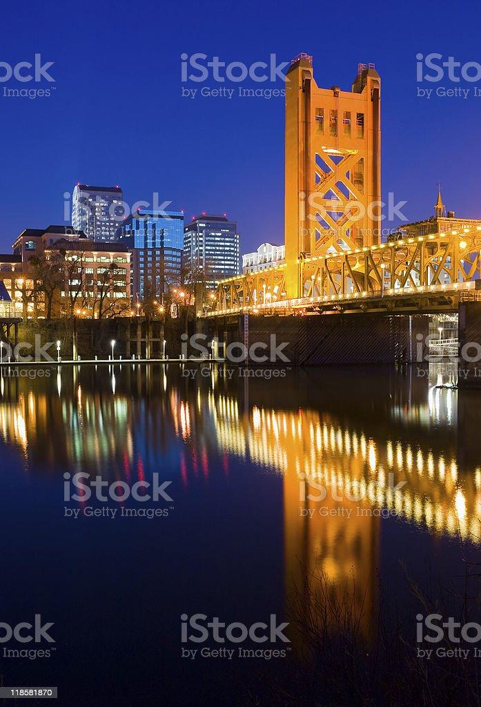 View of Sacramento in California at night stock photo