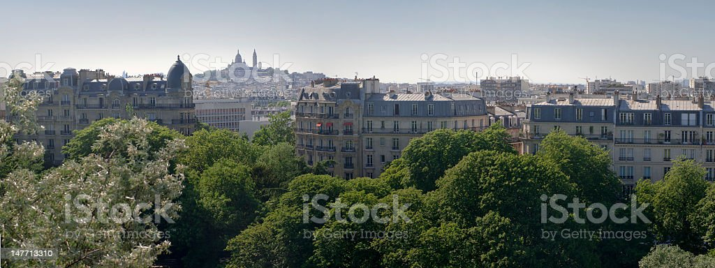 View of Sacred heart from Buttes chaumont  Paris, France stock photo