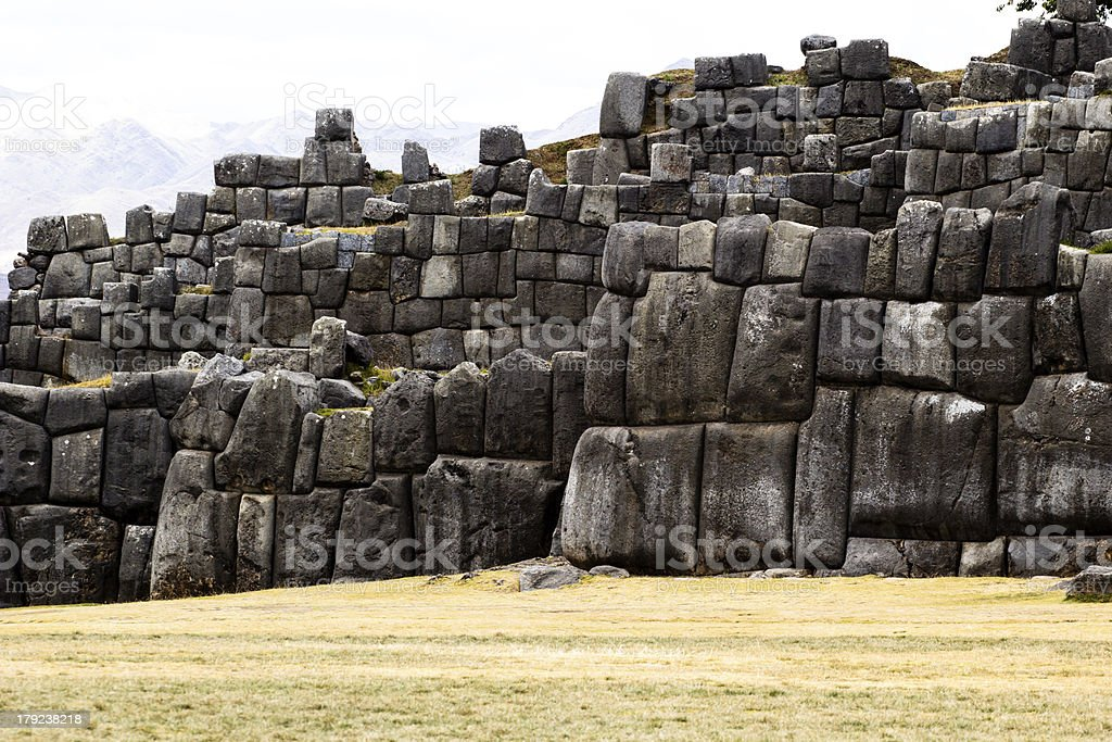 View of Sacsayhuaman wall, in Cuzco, Peru. stock photo