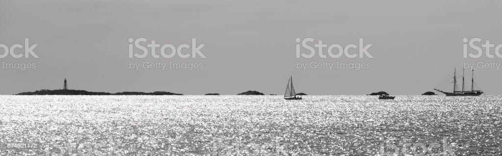 View of Sailboats Along the Coast royalty-free stock photo