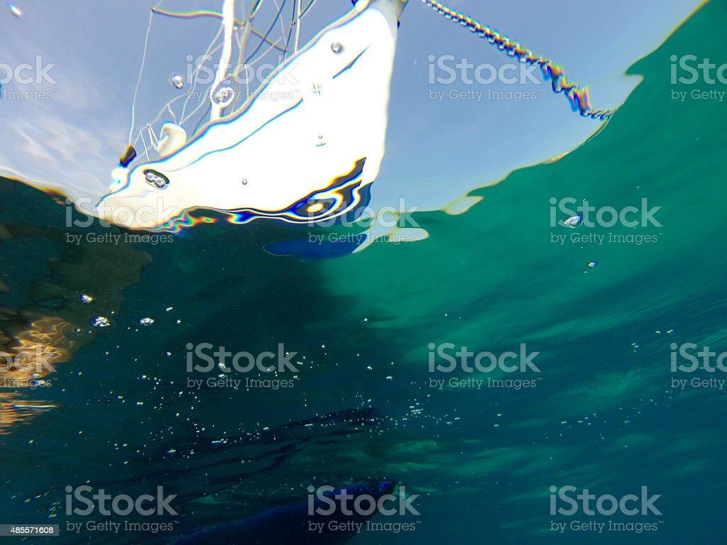 view of sailing yacht flotilla sailing stock photo