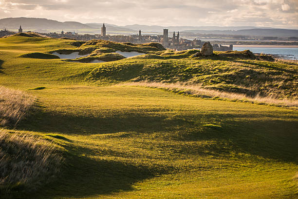 View of Saint Andrews, Fife, Scotland View of golf courts near Saint Andrews, Fife, Scotland friar stock pictures, royalty-free photos & images