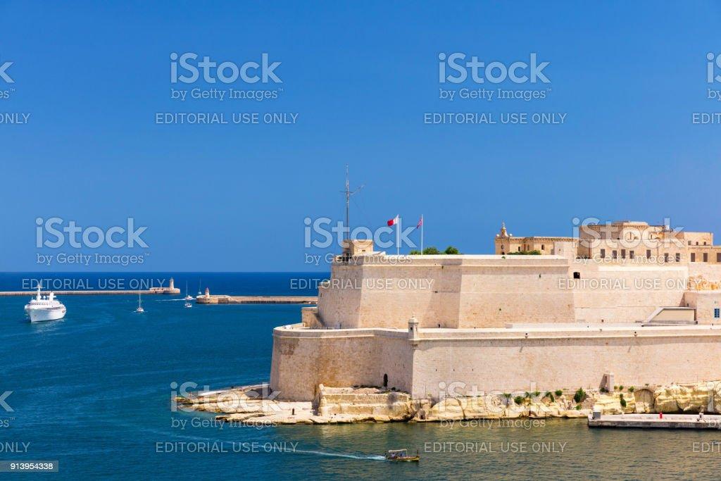 View of Saint Angelo Fort in Valletta, Malta stock photo