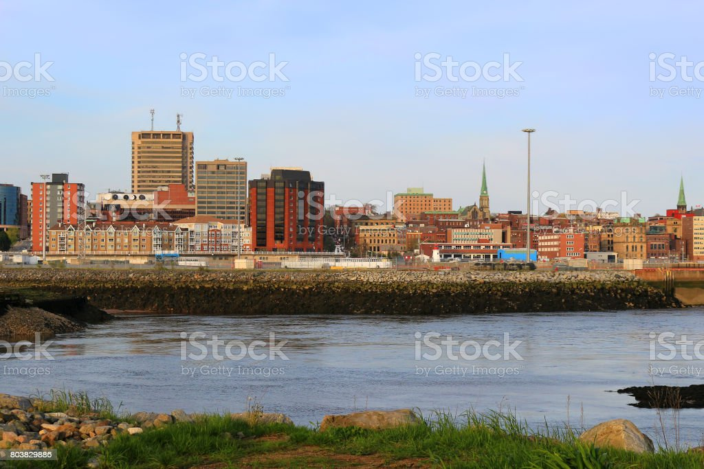 View of Saint John, New Brunswick, in the evening on the Bay of Fundy in the Maritime Provinces of Canada stock photo
