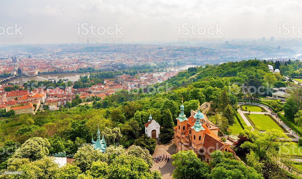 View of Saint Lawrence Cathedral on Petrin Hill in Prague stock photo