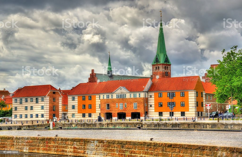 View of Saint Olaf Church in Helsingor, Denmark stock photo