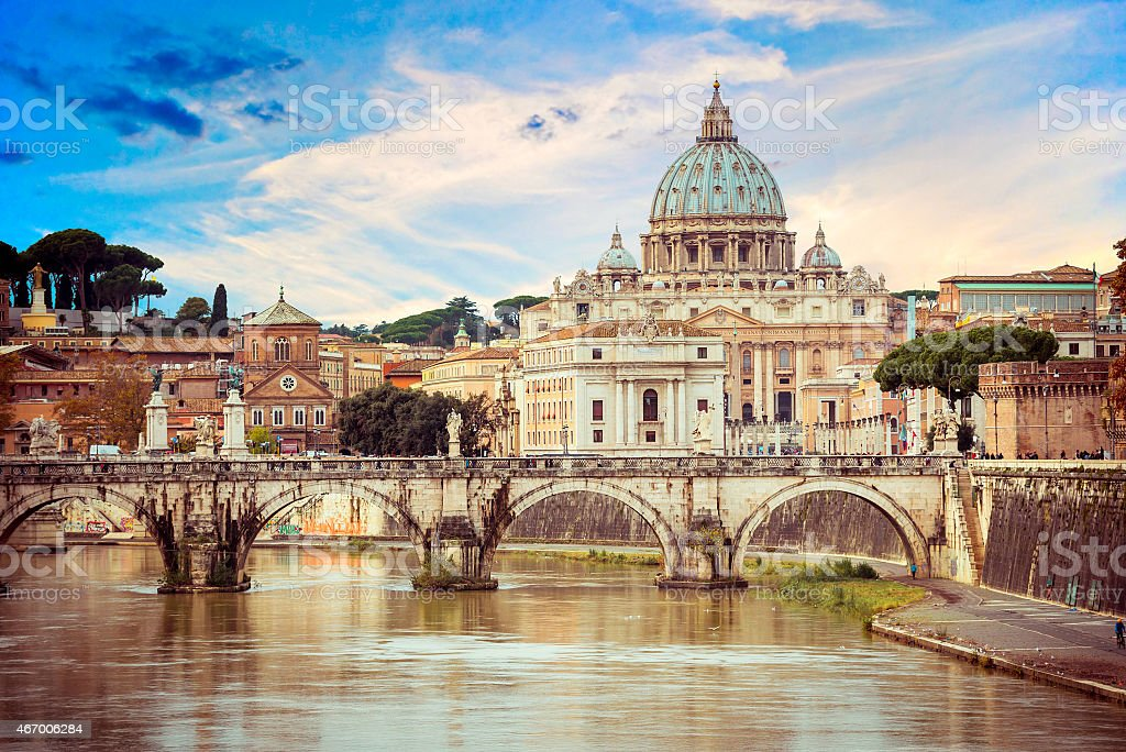 View of Saint Peter cathedral and bridge Angel stock photo