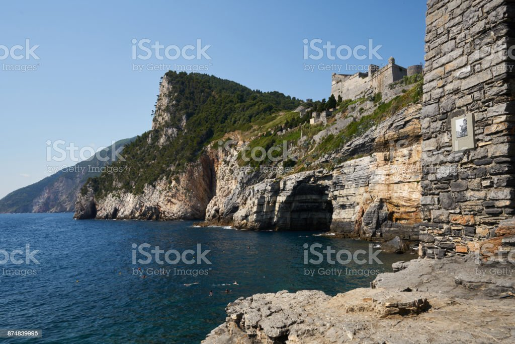 View of Saint Peter Church to Grotta di Lord Byron Cave stock photo