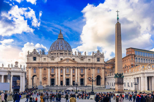 View of Saint Peter's Basilica and square in Vatican stock photo