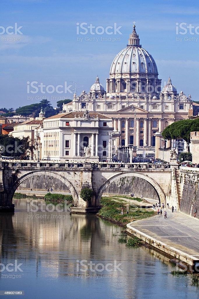 View of Saint Peter's Basilica and the Tiber River stock photo