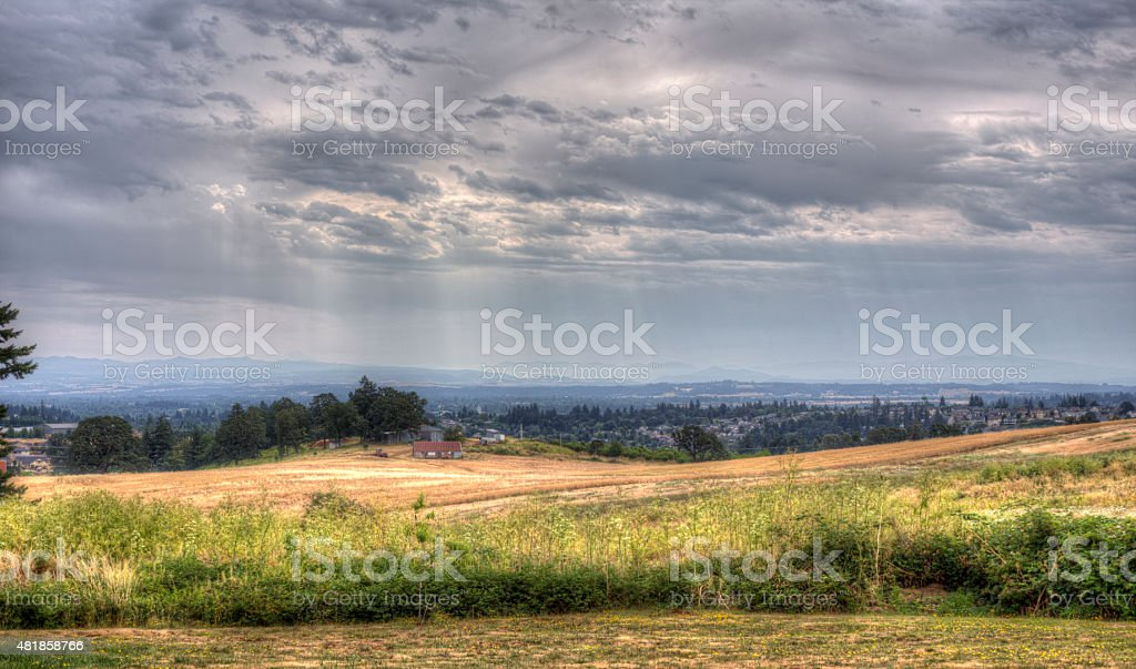 view of Salem, Oregon, from hill stock photo