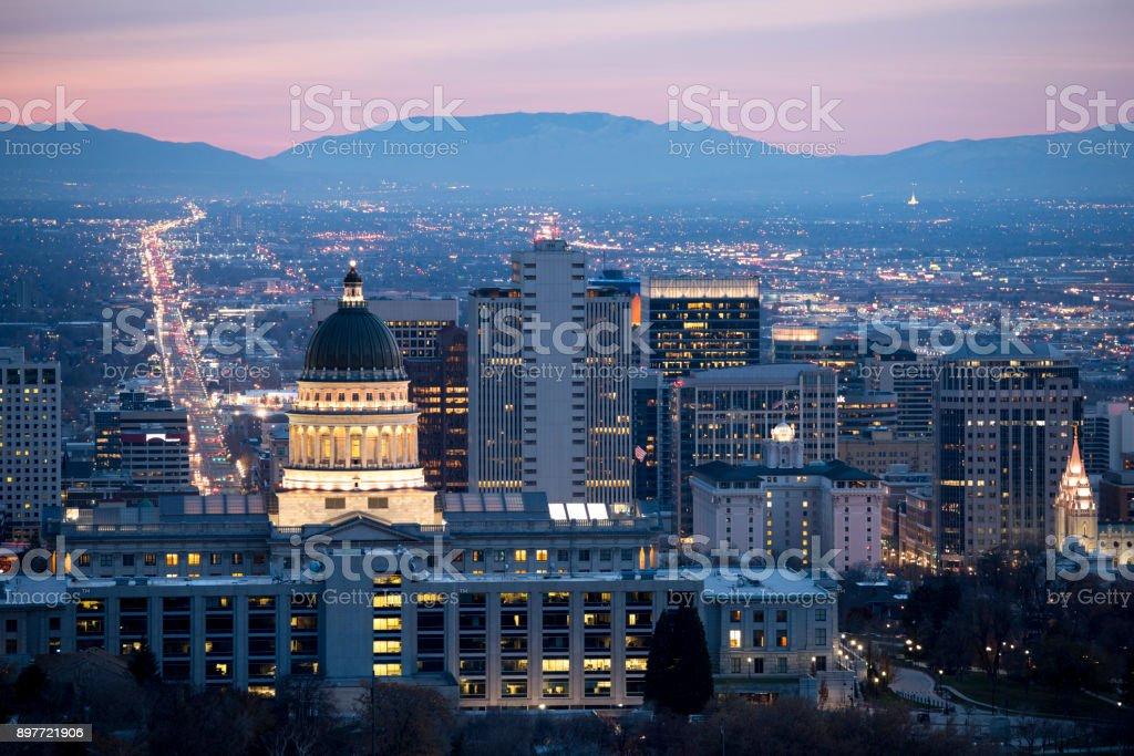 View of Salt lake City at dawn royalty-free stock photo