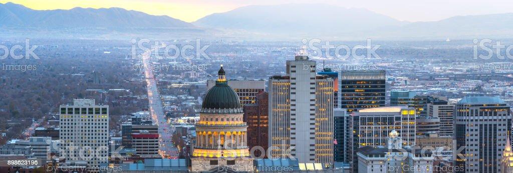 View of Salt lake City at dawn stock photo