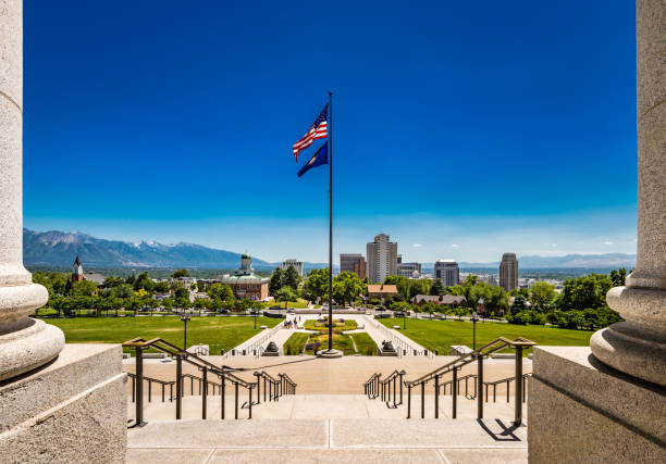 View of Salt Lake City, UT, from the Steps of the State Capitol stock photo