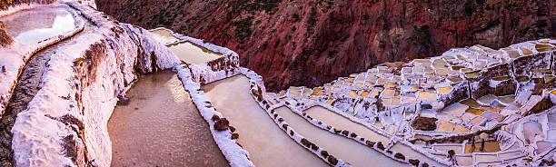 view of salt ponds, maras, cuzco, peru - ein topf wunder stock-fotos und bilder
