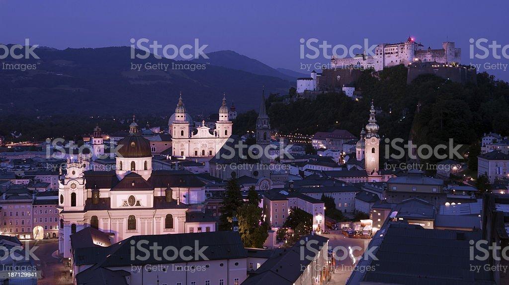 View of Salzburg, Austria at night stock photo
