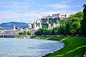 View of Salzburg with the Fortress Hohensalzburg in the background, Austria