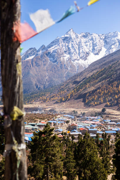 View of Samagaun, Nepal stock photo