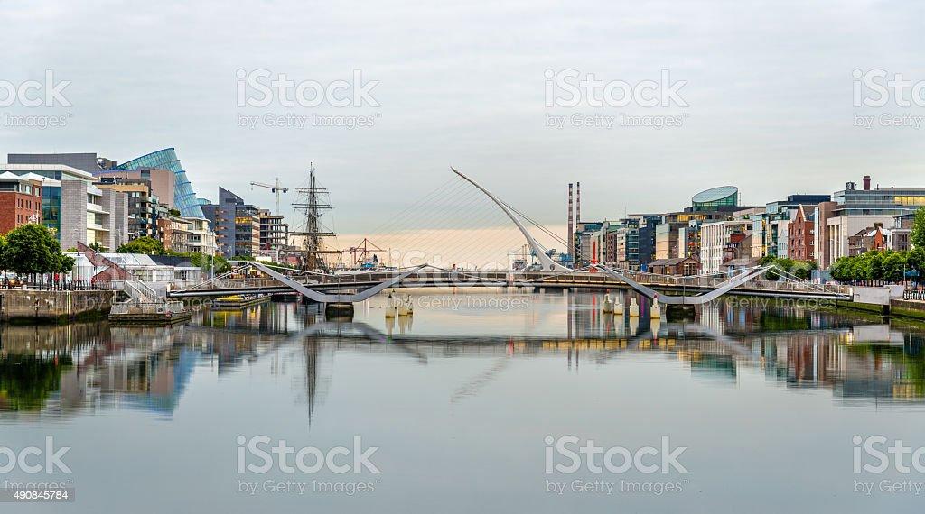 View of Samuel Beckett Bridge in Dublin, Ireland stock photo