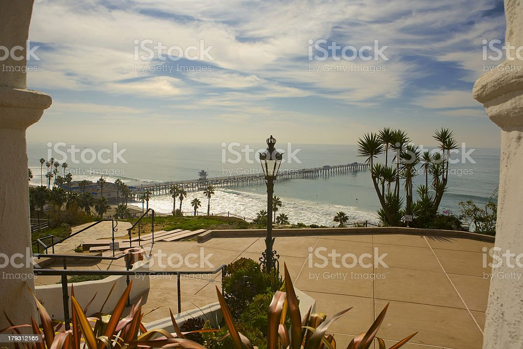 View of San Clemente Pier from Casa Romantica stock photo