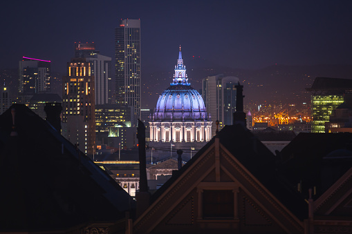 View of San Francisco City Hall, seat of government for the City and County of San Francisco, California, aerial view\