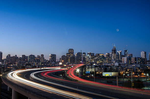 View of san francisco downtown at night. stock photo
