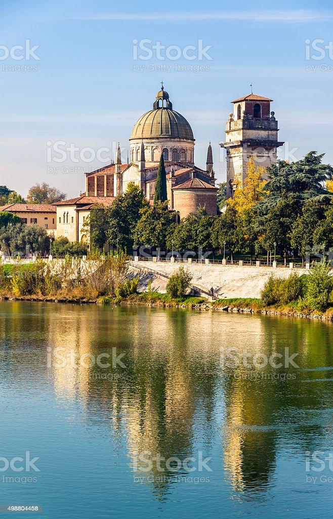 View of San Giorgio in Braida church - Verona stock photo