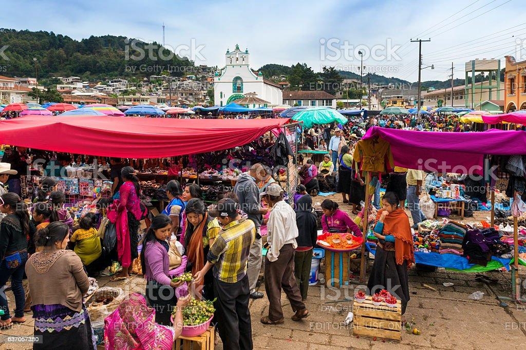 View of San Juan Chamula, Chiapas, Mexico stock photo