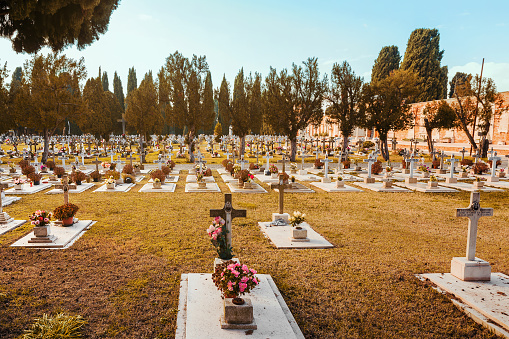 View of San Michele Cemetery in Venice, Italy