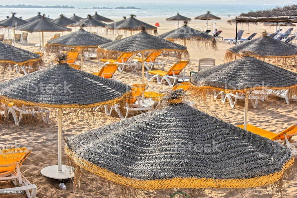 View of sand beach on hot summer day, Agadir, Morocco