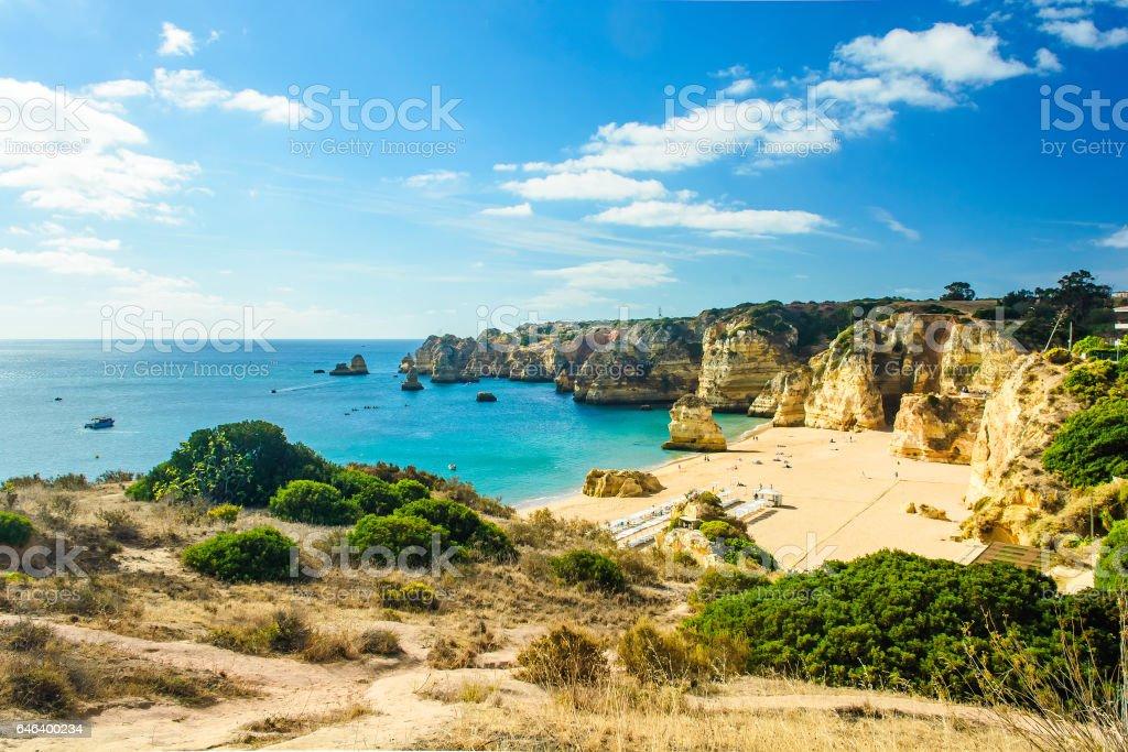 view of sandy beach Pria do Castelo in Algarve, Portugal stock photo